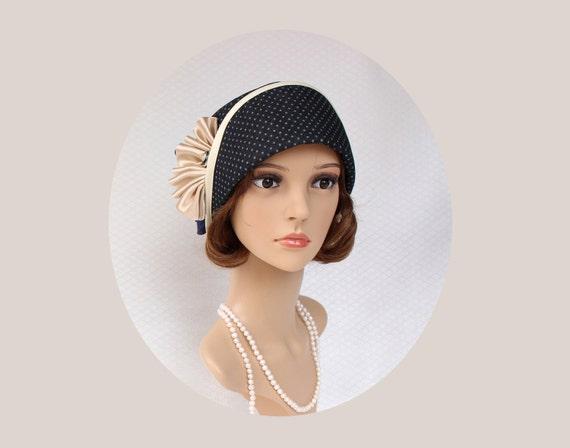 Retro Vintage Style Hats Elegant cloche hat in midnight blue Great Gatsby hat flapper cloche hat Miss Fisher cloche hat 1920s flapper hat Downton Abbeyhat $120.00 AT vintagedancer.com