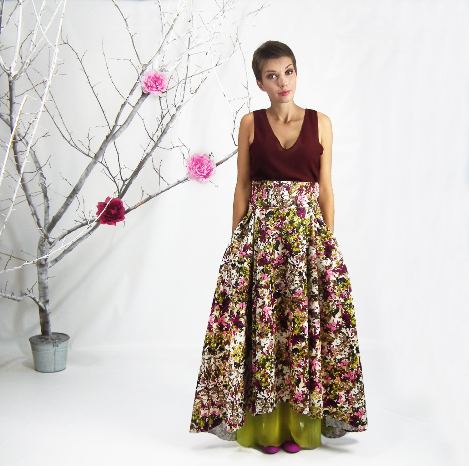 Maxi Skirt Floral Print High Low Skirt Long Skirt Full