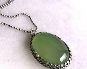 Green Chalcedony Necklace, Large Oval Lime Green Stone Pendant, Long Sterling Silver Chain, Genuine Gemstone Jewelry, Chalcedony Pendant
