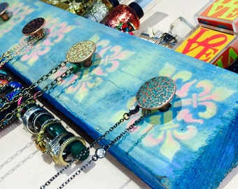 Necklace holder jewelry hanger reclaimed wood jewellry wall storage/ hanging makeup organizer 5 hand-painted knobs 2 blue hooks bracelet bar