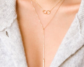 Friendship Necklace, Karma Circle Necklace, Interlocking Circle Necklace, Mother Daughter, Bridesmaid Gift, Bridesmaid Necklace 10mm