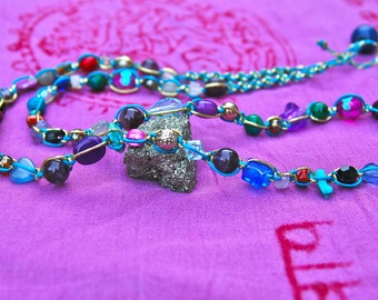 Colourful beaded necklace, long multi gemstone necklace, multicolour necklace, bohemian necklace, boho jewelry, hippy bead necklace macrame