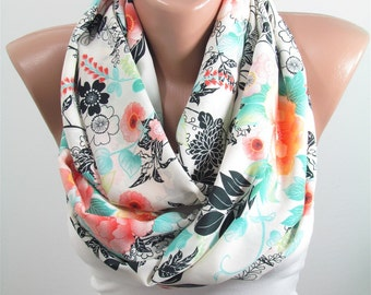 Floral Scarf Infinity Scarf Spring Summer Fall Winter Accessories Christmas Gift For Her Mothers Day Gift for Mom Valentines Gift DERINS