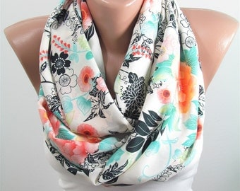 Floral Scarf Spring Summer Fall Winter Infinity Scarf Mothers Day Christmas Gift For Her Fashion Travel Gift for Mom Gift for Girlfriend D