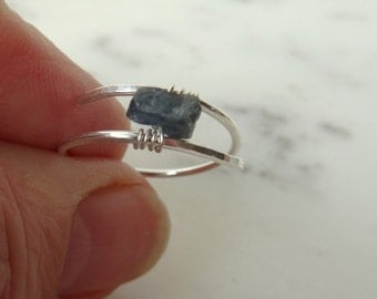 Rough Sapphire ring - blue - Sapphire ring - raw Sapphire ring - uncut stone ring - rough cut ring - hand forged ring - sapphire solitaire