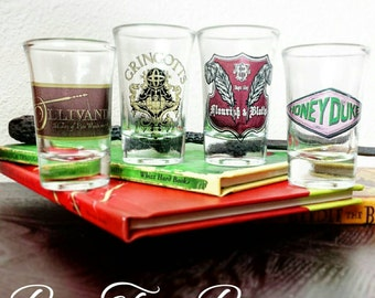 Hogsmeade and Diagon Alley Shops Shot Glasses | Harry Potter | Ollivander's | Gringotts | Flourish &  Blotts | Honeydukes