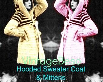 INSTANT DOWNLOAD - PdF Pattern - Hooded Coat Crochet Pattern Vintage 1970s Jacket Crochet Pattern Mittens Crochet Pattern Vintage Beso