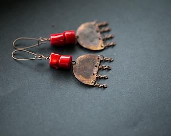 Tribal earrings Ethnic earrings African earrings African jewelry Copper jewelry Red earrings Coral jewelry Coral earrings Dangle earrings