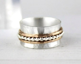 Hammered Silver Spinner Ring with Beaded Silver and Gold Bands, Meditation Ring, Fidget Ring, Mixed Metal Ring