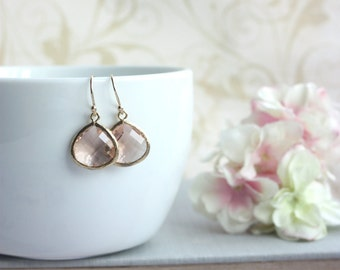 Wedding Earrings, Peach Gold Glass Earrings Peach Dangle Earrings Modern Earrings Peach and Gold Wedding Bridesmaids Gifts Bridal Earrings