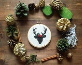 Personalized First Christmas Ornament. Black and White Deer Embroidery. Winter Ornaments. Handmade Christmas Ornament. Baby's Christmas.