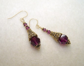 Dark Purple Earrings Aymethyst Crystal Jewelry for Pierced Ears Long Gold Earings for Women Handmade Gift Ideas for Her Ships from Canada