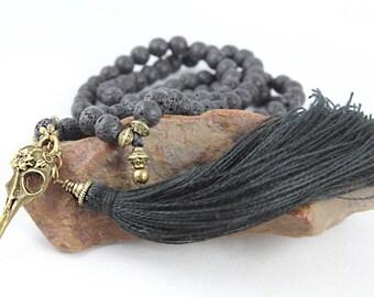 Raven Skull Mala Necklace, Skull Necklace, Mala Beads, Black Mala, Tassel Necklace, Skull Bracelet, Wiccan Jewelry, Skull Mirror Charm