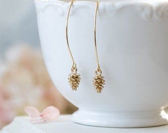 Gold Pine Cone Earrings Long Dangle Pine Cone Earrings Drop Earrings Pine Cone Jewelry Fall Earrings Autumn Jewelry Woodland Jewelry