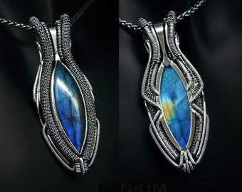 Reversible labradorite hybrid pendant - blue stone wrapped in sterling silver. Unique wire wrap teal cobalt vibrant wirewrap