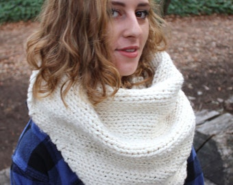 Xtra Oversized Knit Triangle Scarf - Chunky Knit - Bulky Wool Blend - Unisex Blanket Scarf