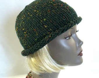 Hand Knit Dark Green Tweed Bowler Hat, Green Rolled Brim Hat, Bucket Style Woman's Hat, Handmade in the USA, Ready to Ship