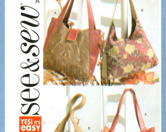 2004 Lined Handbag Purse with Inner Compartments Uncut Factory Fold - Butterick See & Sew Sewing Pattern 4271