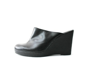 SALE - 1990's Minimal Black Clog Wedges Platforms