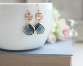 Wedding Jewelry, Navy Blue and Peach Earrings, Gold Blue and Champagne, Blue and Blush, Bridesmaid Gift Bridesmaid Jewelry, Dangle Earrings