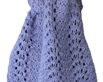 Hand Knit Scarf  - Baby Blue Luscious Alpaca Lace
