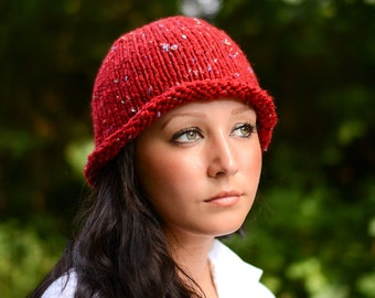 Red Tweed Beanie, Hand Knit Hat, Rolled Brim Hat, Retro Style Bowler Hat, Vegan Knits, Handmade in the USA, Ready to Ship