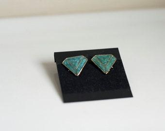 Teal and Gold Geometric Stud Earrings