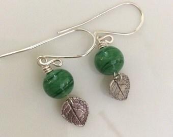 Green Glass Earrings / Small Leaf Earrings / Lampwork Glass Earrings / Sterling Silver Earrings / Glass Dangle Earrings