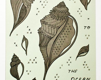 Letterpress wall art NAUTICAL LETTERPRESS POSTER print seashell illustration limited edition letterpress print - printmaking wall art print