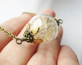 Dandelion Seed Filled Wishing Orb Necklace in Silver or Bronze, Small Blown Glass Orb, Bridesmaids Gifts, Terrarium Jewelry