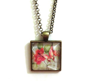 Pink Butterfly Glass Tile Pendant Necklace, Pink Necklace, Butterfly Necklace, Bronze Necklace