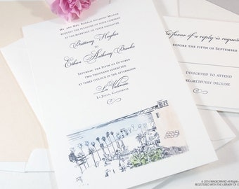 La Jolla Skyline Hand Drawn Wedding Invitations Package (Sold in Sets of 10 Invitations, RSVP Cards + Envelopes)