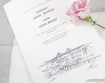 Charleston Skyline Wedding Programs (set of 25 cards)
