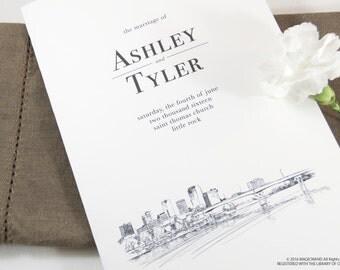 Little Rock Skyline Wedding Programs (set of 25 cards)