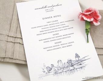 Cincinnati Skyline Dinner Menus (Sold in sets of 25)