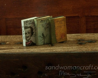 Set of three miniature books, E. A. Poe. The collected Tales, Raven, Great Tales and Poems. 1 inch scale dollhouse miniatures, library desk
