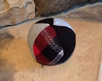 Plaid Grey and Black Ball Fleece Dog Ball Toy Squeaker Fleece Dog Toy  Ball Toy Puppy Chew Toy Pet Toy Ready To Ship