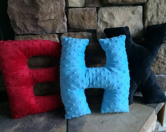 Stuffed Minky Dot Letter Pillow Toys  Letter Pillow Decorative Initial Pillows