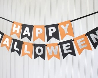 Silver, Orange, Black Happy Halloween Banner/Halloween Decorations/Spooky Banner/Trick or treat /Party Decoration/ Personalized Name/ Custom