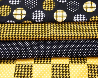 4 FQ Bundle – Golden Yellow, Black & White Geometric Prints - 100% Cotton Quilt Craft Fabric Fat Quarters
