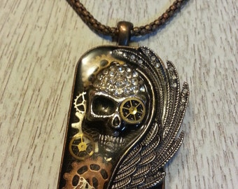 Black Wing Steampunk Skull Necklace, Steampunk necklace, Wing necklace,Gothic necklace