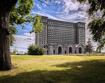 Lustre Print: Michigan Central Station-Between Trees