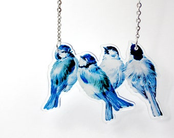 Acrylic Necklace BLUE TITS Finart-Jewellery
