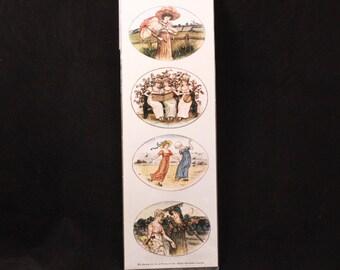 Vintage B. Shackman 12 Different Kate Greenway Decorative Seals. Pressure-Sensitive Sealed Stickers.