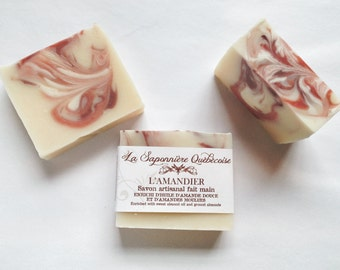 Savon Amandier, Savon artisanal fait main 100% naturel, Almond Soap, Cold process All Natural Handmade Soap