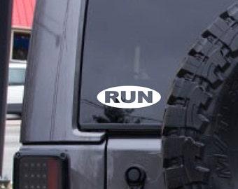 RUN decal, FREE SHIPPING, White vinyl jogging, running decal, #runner #jogging #sports #224
