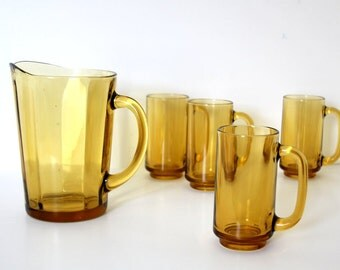 Glass Pitcher and Glass Set Amber Yellow Vintage BBQ Vintage Serviceware Affordable Drinking Set Vintage 1970s
