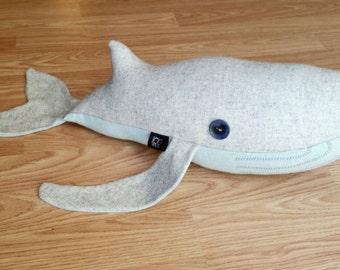 Blu the Stuffed Wool Whale