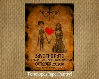 Corpse Bride Halloween Wedding Save The Date Card,Faux Parchment Paper With Burnt Edges,Unique,Red Heart,Customize,Printed Card,Envelopes