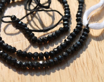 Natural Microfaceted 3-4mm Black Spinel Beads - Full Strand